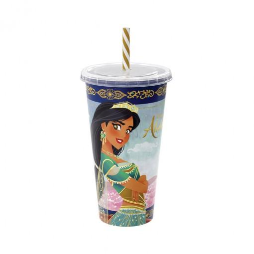 Copo Refrigerante de Plástico 700 ml com Tampa e Canudo Aladdin
