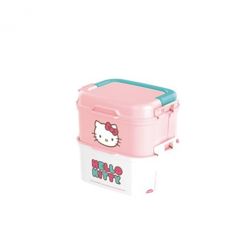 Mini Marmita de Plástico com Tampa, 2 Compartimentos, 2 Divisórias Removíveis, Alça, Travas Laterais e Garfo Hello Kitty