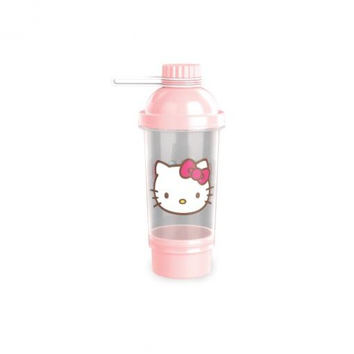 Shakeira de Plástico 580 ml com Tampa Rosca e Compartimento Hello Kitty