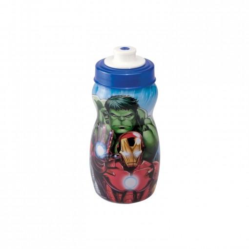 Garrafa Squeeze de Plástico 300 ml com Tampa Rosca Avengers Homem de Ferro