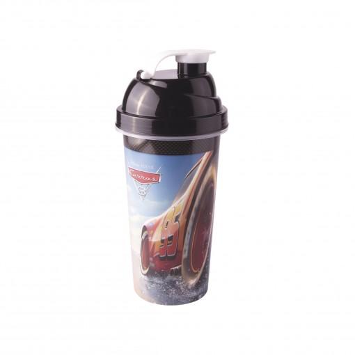Shakeira de Plástico 580 ml com Tampa Rosca e Misturador Carros