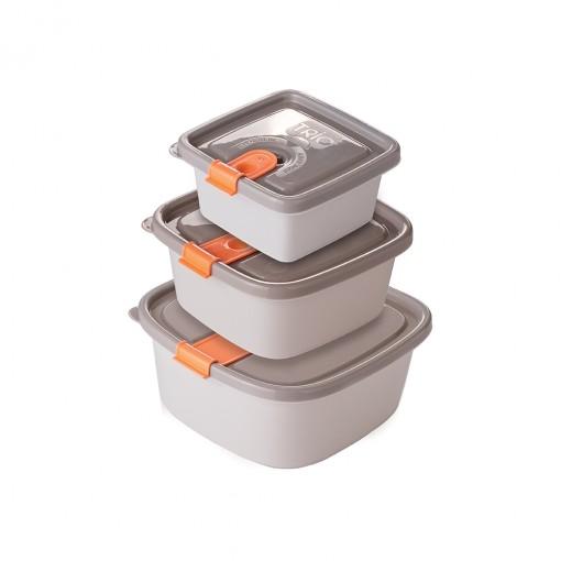 Conjunto de Potes de Plástico Retangulares com Tampa Fixa e Trava Trio 3 Unidades
