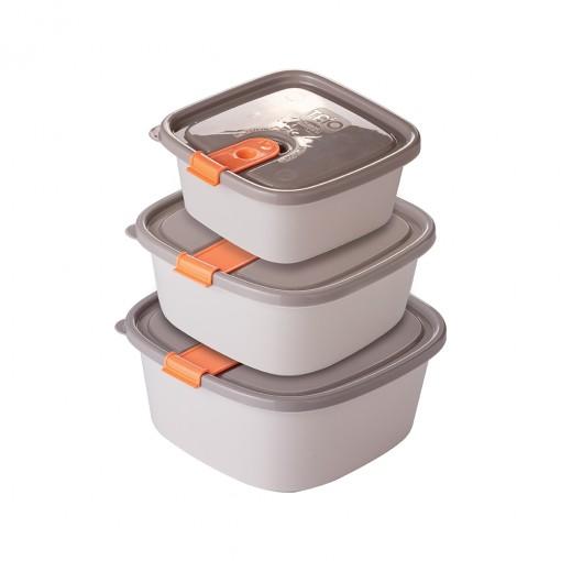 Conjunto de Potes de Plástico Retangulares com Tampa Fixa e Trava Trio 3 Unidades Cinza
