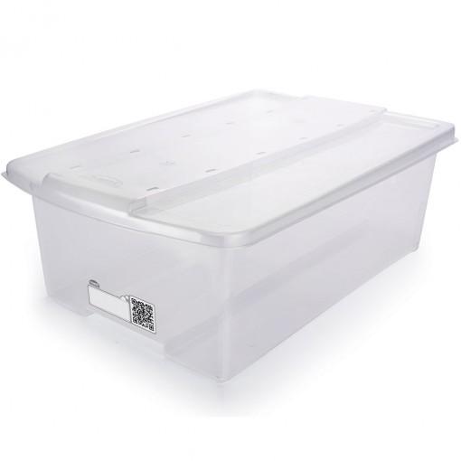 Caixa de Plástico Retangular Organizadora 9,8 L com Tampa Empilhável Grande