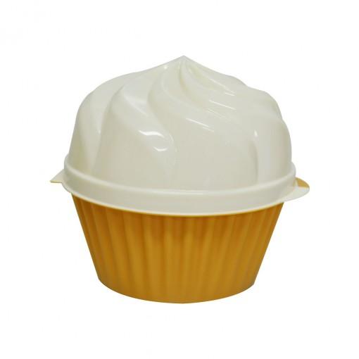 Pote de Plástico com Tampa Fixa em Formato de Cupcake