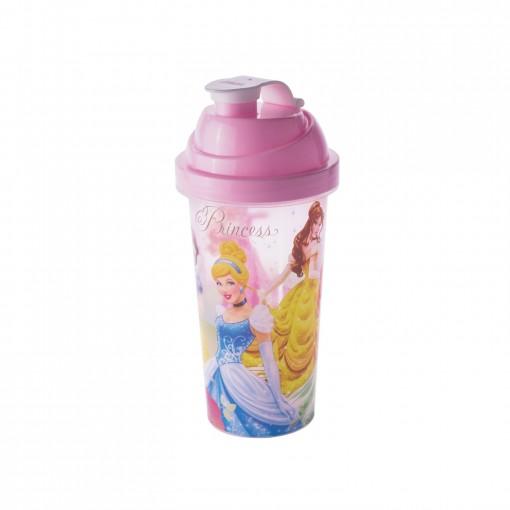 Shakeira de Plástico 580 ml com Tampa Rosca e Misturador Princesas