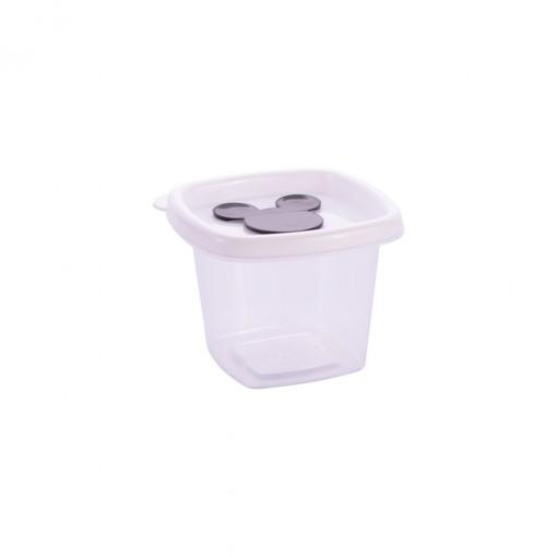 Pote de Plástico Quadrado 170 ml com Válvula Clic Mickey