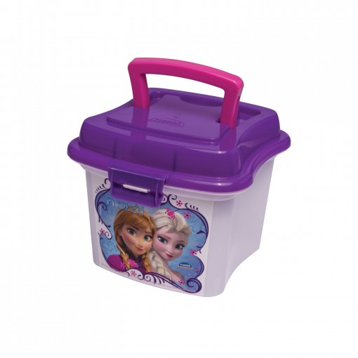 Caixa de Plástico 1 L com Tampa Fixa, Trava e Alça Frozen