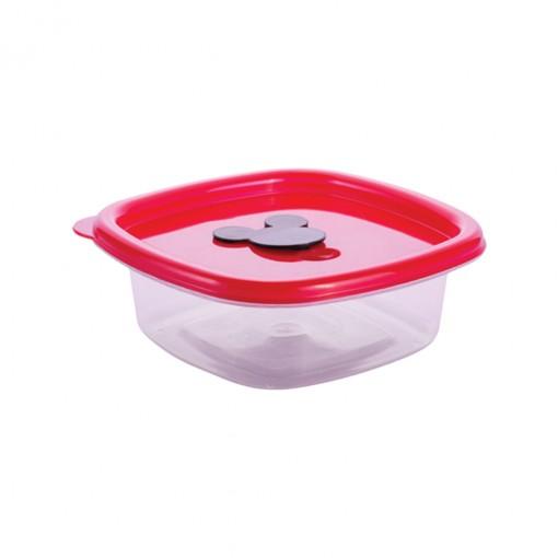 Pote de Plástico Quadrado 400 ml com Válvula Clic Mickey