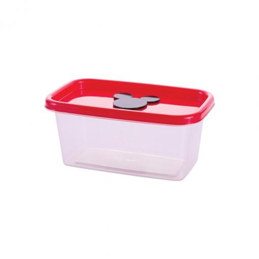 Pote de Plástico Retangular 380 ml com Válvula Clic Mickey