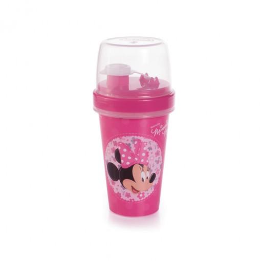 Mini Shakeira de Plástico 320 ml com Misturador, Fechamento Rosca e Sobretampa Articulável Minnie
