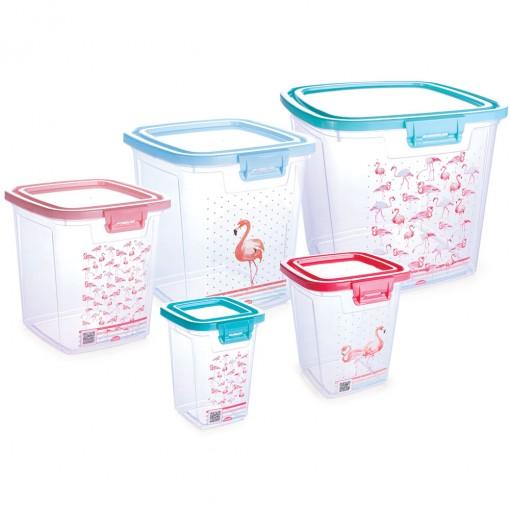 Conjunto de Potes de Plástico Retangulares para Mantimentos com Tampa Fixa Duo Flamingo 5 Unidades