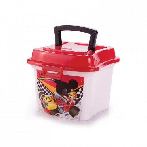 Caixa de Plástico 1 L com Tampa Fixa, Trava e Alça Mickey Roadster Racers