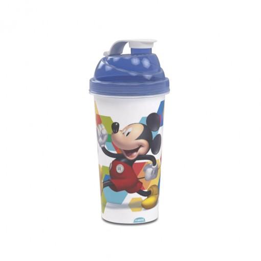 Shakeira de Plástico 580 ml com Tampa Rosca e Misturador Mickey