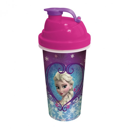 Shakeira de Plástico 580 ml com Tampa Rosca e Misturador Frozen