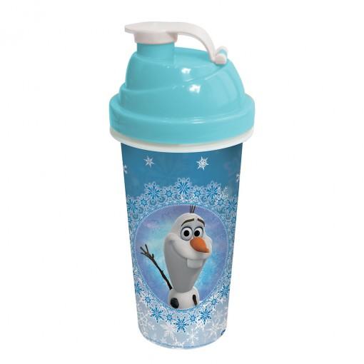 Shakeira de Plástico 580 ml com Tampa Rosca e Misturador Olaf