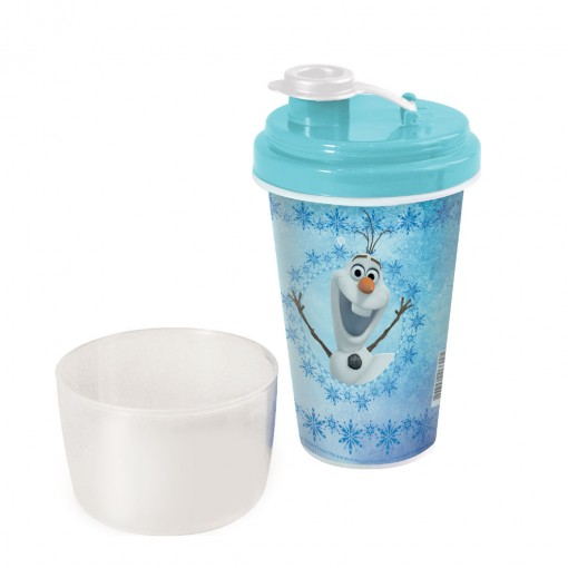 Mini Shakeira de Plástico 320 ml com Misturador, Fechamento Rosca e Sobretampa Articulável Olaf