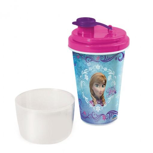 Mini Shakeira de Plástico 320 ml com Misturador, Fechamento Rosca e Sobretampa Articulável Frozen