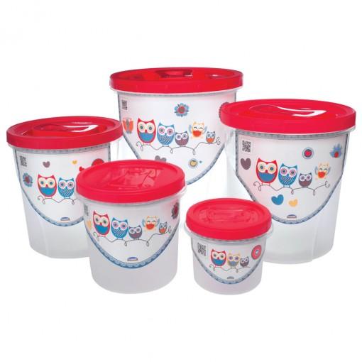 Conjunto de Potes de Plástico Redondos para Mantimentos Rosca Coruja 5 Unidades