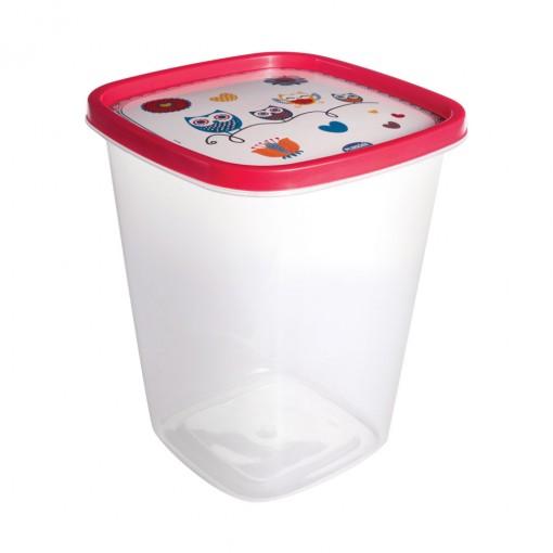 Pote de Plástico Quadrado 3,1 L Clic Coruja