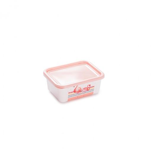Pote de Plástico Retangular 400 ml com Tampa Fixa Duo Flamingo