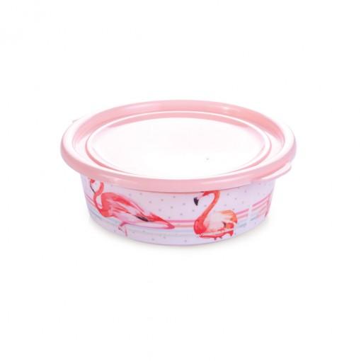 Pote de Plástico Redondo 400 ml com Tampa Fixa Duo Flamingo