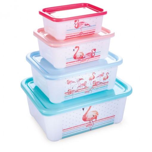 Conjunto de Potes de Plástico Retangulares com Tampa Fixa Duo Flamingo 4 Unidades