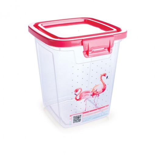 Pote de Plástico Retangular 1,8 L com Tampa Fixa e Trava Duo Flamingo