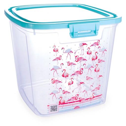 Pote de Plástico Retangular 7,4 L com Tampa Fixa e Trava Duo Flamingo