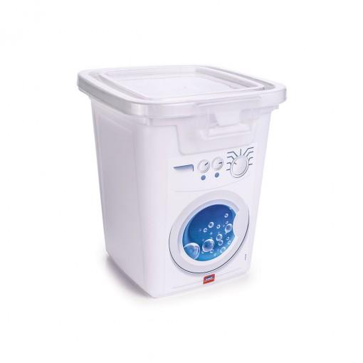Porta Sabão em Pó de Plástico 1 Kg com Tampa Fixa e Trava Máquina de Lavar