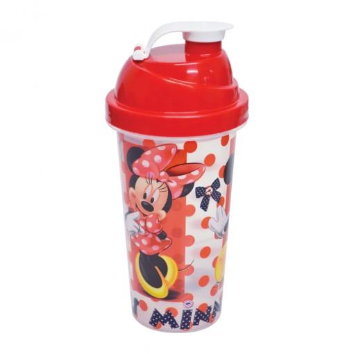 Shakeira de Plástico 580 ml com Tampa Rosca e Misturador Minnie