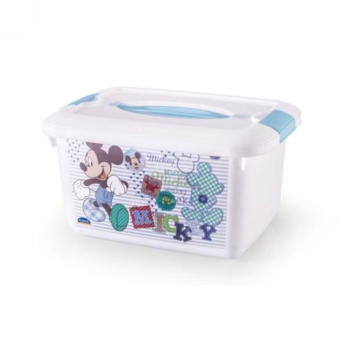 Caixa de Plástico Retangular Organizadora 5,2 L com Travas Laterais e Alça Mickay Baby