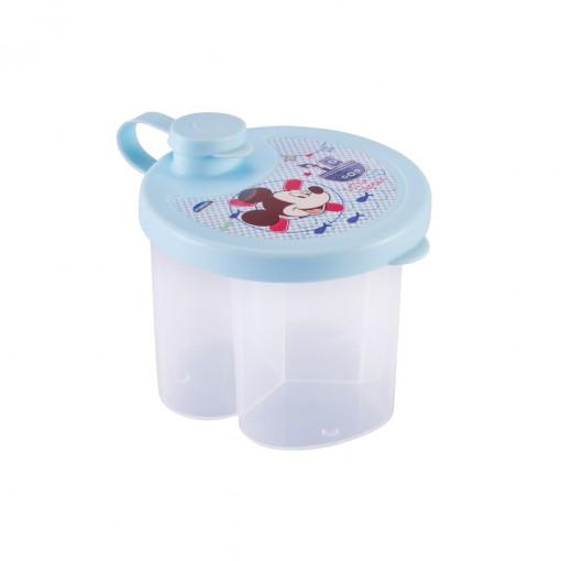 Dosador de Leite em Pó de Plástico com 3 Compartimentos Tampa Encaixável e Bico Direcionador Mickey Baby