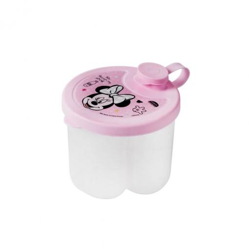 Dosador de Leite em Pó de Plástico com 3 Compartimentos Tampa Encaixável e Bico Direcionador Minnie Baby