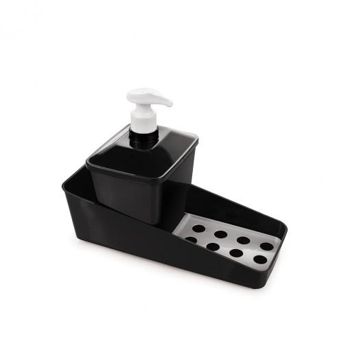 Conjunto para Porta Detergente de Plástico com Válvula e Suporte para Esponja