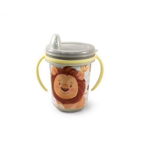 Caneca de Plástico 330 ml para Transição com  Alça Removível e Fechamento Rosca Os Filhotes
