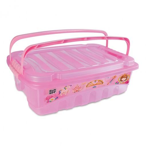 Caixa de Plástico Retângular 9,3 L com Tavas Laterais e Alça Baby Princess