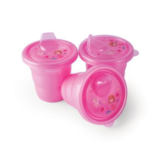 Conjunto de Copos de Plástico com Bico 3 Unidades Baby Princess