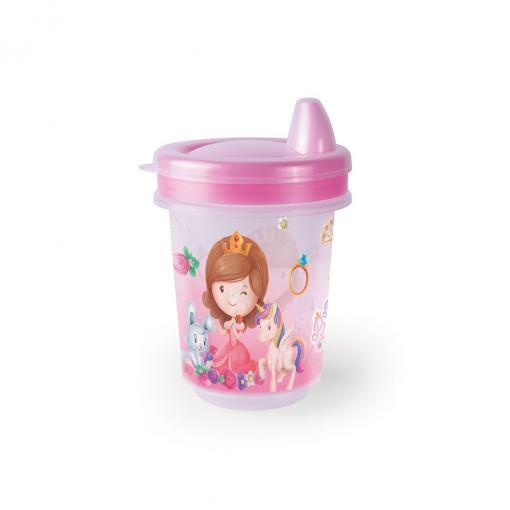 Copo de Plástico 330 ml  para Transição com Fechamento Rosca Baby Princess