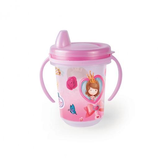 Caneca de Plástico 330 ml  para Transição com Alça Removível  e Fechamento Rosca Baby Princess