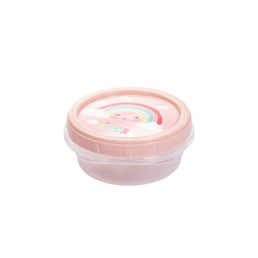 Pote de Plástico Redondo 390 ml Arco Íris Rosca