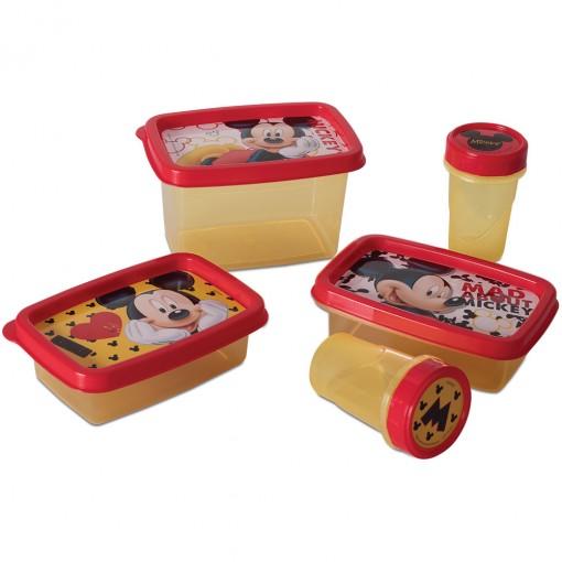 Conjunto de Potes de Plástico Clic 5 Unidades Mickey