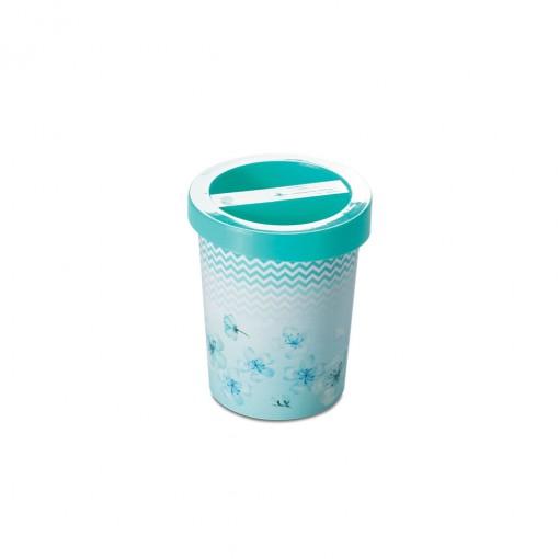 Porta Cotonete de Plástico Flores
