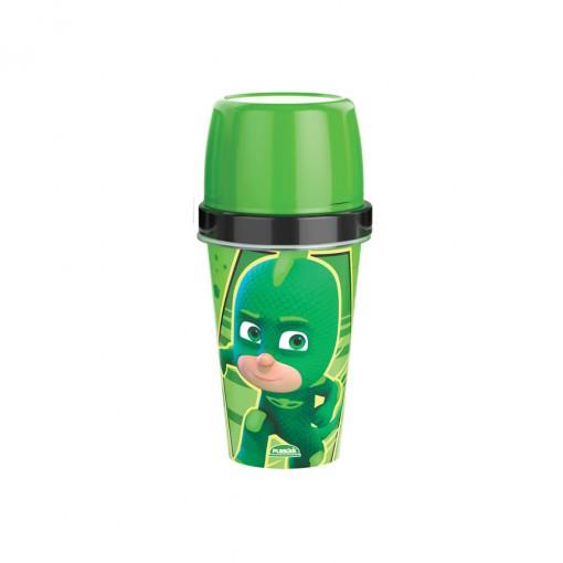 Mini Shakeira de Plástico 320 ml  com Misturador, Fechamento Rosca e Sobretampa Articulável  Pj Masks