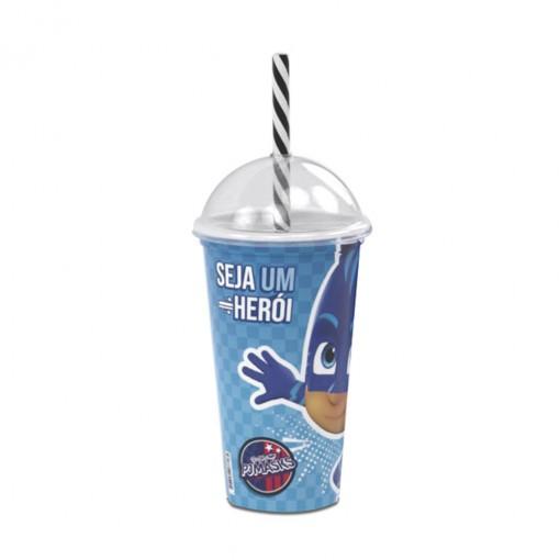 Copo Shake de Plástico 500 ml com Tampa e Canudo Pj Masks