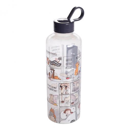Garrafa de Plástico 970 ml com Tampa Rosca e Pegador Fixo Cilíndrica Cute Pets