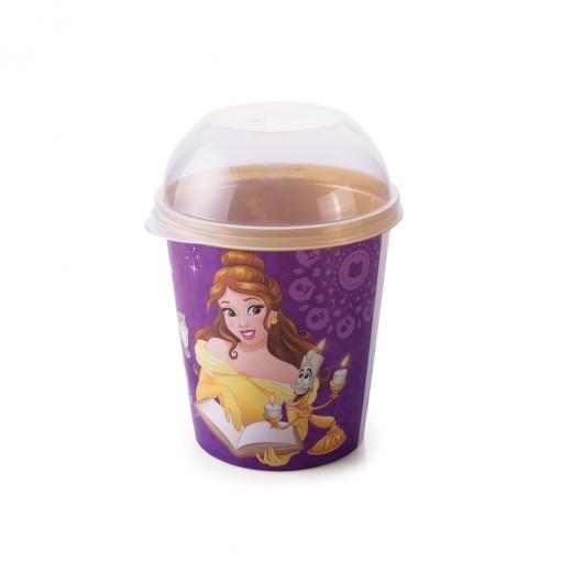Pote de Plástico 600 ml com Tampa Fixa Princesas Colecionáveis