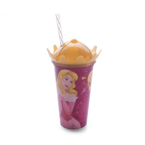 Copo de Plástico 500 ml com Tampa Coroa e Canudo Princesas Colecionáveis