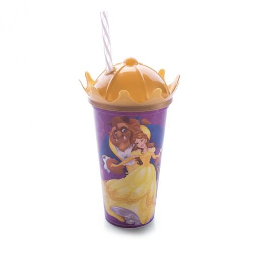 Copo Coroa com Canudo 500 ml | Princesas Colecionáveis