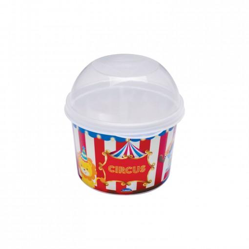 Pote de Plástico 400 ml  com Tampa Fixa Circo